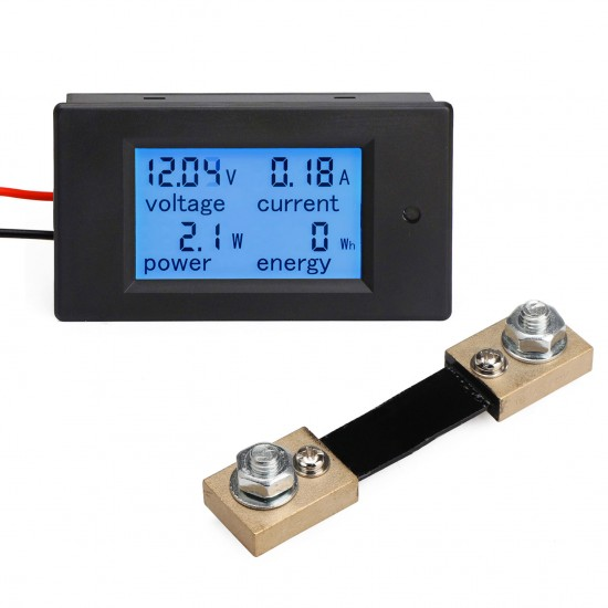 Power Monitor 4in1 Digital Voltmeter/Ammeter/Power Meter/Energy Meter DC 6.5~100V/100A/10kW/9999kWh Multifunction Digital Meter + Resistor shunt