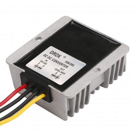 Waterproof Power Converter DC 12V(10V~36V) to 12V 5A 60W Auto Buck Boost Power Supply Module/Voltage Regulator/Adapter/Driver Module