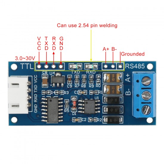 TTL To RS485 Module DC 3.0V ~ 30V RS485 To TTL Mutual Conversion Hardware Automatic Flow Control Module/Converter Module