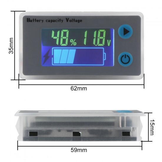 Digital Meter DC 10~100V Universal LCD Car Acid Lead Lithium Battery Capacity Indicator Tester with Low Pressure Alarm