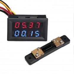 Digital Voltmeter Ammeter DC 0~100V/50A Dual Display Voltage Ampere Meter DC 12V 24V Digital Tester + 50A Shunt