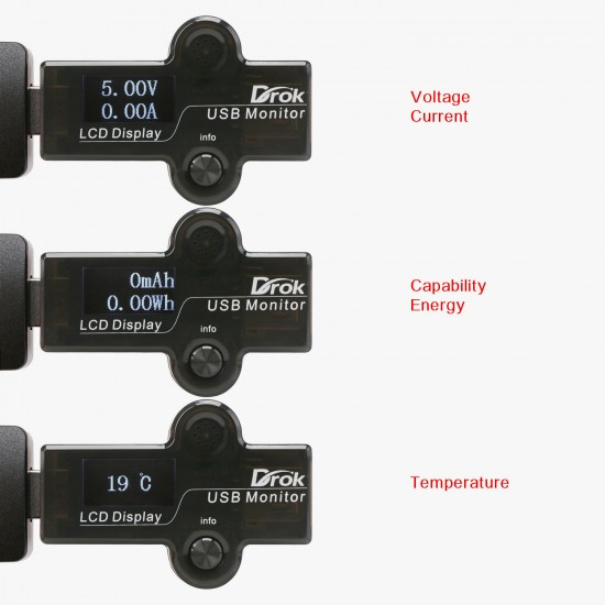 USB Tester 5in1 Multifunction Voltmeter/Ammeter/Capacity Meter/Energy Meter/Temperature Meter/Running Time Monitor Meter Portable USB Doctor