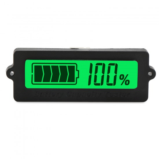 Digital Tester DC 12V/24V/36V/48V Battery Capacity Monitor Meter Waterproof LCD Green Backlight Indicator for Car/Motorcycle/Golf Cart
