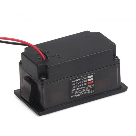 Digital Meter DC 3.3~30V Voltmeter Waterproof Red Led Display Voltage Meter DC12V 24V Digital Tester for Electro car Motorcycle