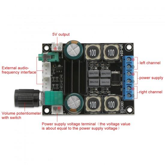 DC 12V 24V 2.0 Dual-Channel Digital Amplifier Board 50W HiFi Stereo Audio Amplifier TPA3116 Speaker Power Amplifier Board
