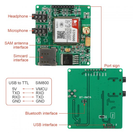 SIM800 Development Board Module GSM GPRS MMS SMS STM32 for UNO Exceed SIM900A UNVSIM800 Development Board
