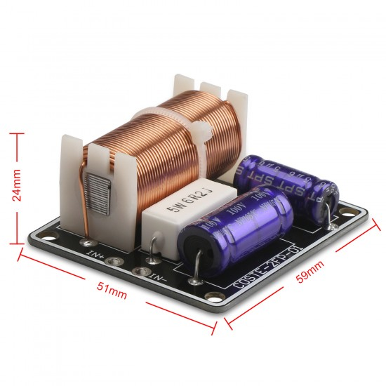 2 Way HiFi Speaker Frequency Divider 150W Bass Tweeter Audio Frequency Divider Module 3200HZ 4~8 ohms Impedance