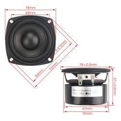 25W Shocking Bass Speaker 3 inches 8 ohms Square Speaker/Woofer Speaker Hi-Fi stereo Loudspeaker DIY Mini Stereo Box Accessories