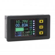 Multimeter Mini Digital Voltage/Current/Charge and Discharge Capacity/Time/ Power Display Panel Meter/Multifunction Digital Meter/Tester
