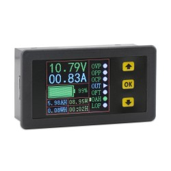 Multimeter Mini Digital Voltage/Current/Charge and Discharge Capacity/Time/ Power Display Panel Meter/Multifunction Digital Meter/Tester