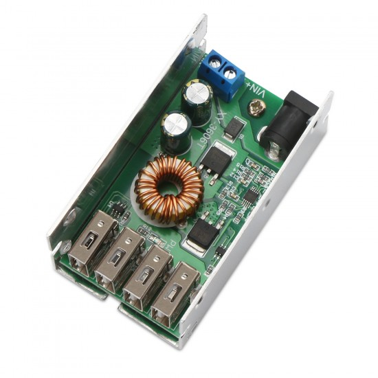UIOTEC DC DC 9-36V to 5V Voltage Regulator Buck Converter 5A Volt Transformer Power Supply Module with 4 USB Ports for Android Phone Fast Charging**
