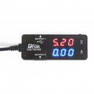 Dual-USB Charger Voltmeter Ammeter Red Blue LED 3.2-10V 0-3A Volt Current Monitor for IPad/IPhone