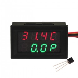 -55℃-110℃/99.9W/33V/3A Thermometer Voltmeter Ammeter 4 Digit LED Dual Display