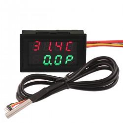 Digital Temp Power Voltage Current Multimeter -55℃-110℃/99.9W/33V/3A  Red+Green