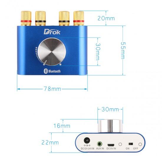 Audio Amplifier 30W+30W Wireless Bluetooth Audio Receiver/Amplifier Bluetooth 4.0  Dual Channel Amplifier TPA3110 2.0 DC12~24V