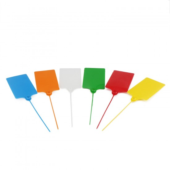 24 PCS/LOT  6 Colors 57 × 100mm Large Plastic Tags, Double-locked Nylon Labeling Tags Luggage Tags, Writable Parcel Tags Labels with Cable Ties for Shipping Customs, Department Stores