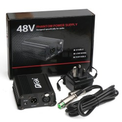 British Plug 1-Channel 48V Phantom Power Supply + Adapter + One XLR Audio Cable for Condenser Micro Recording Equipment