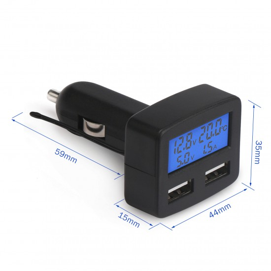 DC 5V 3A USB Car Charger with Charging/Battery Voltage, Current, Temperature Monitor 5in1 Blue Lcd Display Car Charger Tester