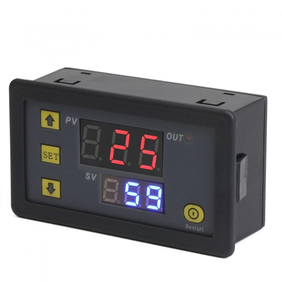 Time Relay Module DC 24V Multifunction Controller Cycle Timer Delay Time Switch Digital Dual display Relay Module 0~999 hr/min/sec