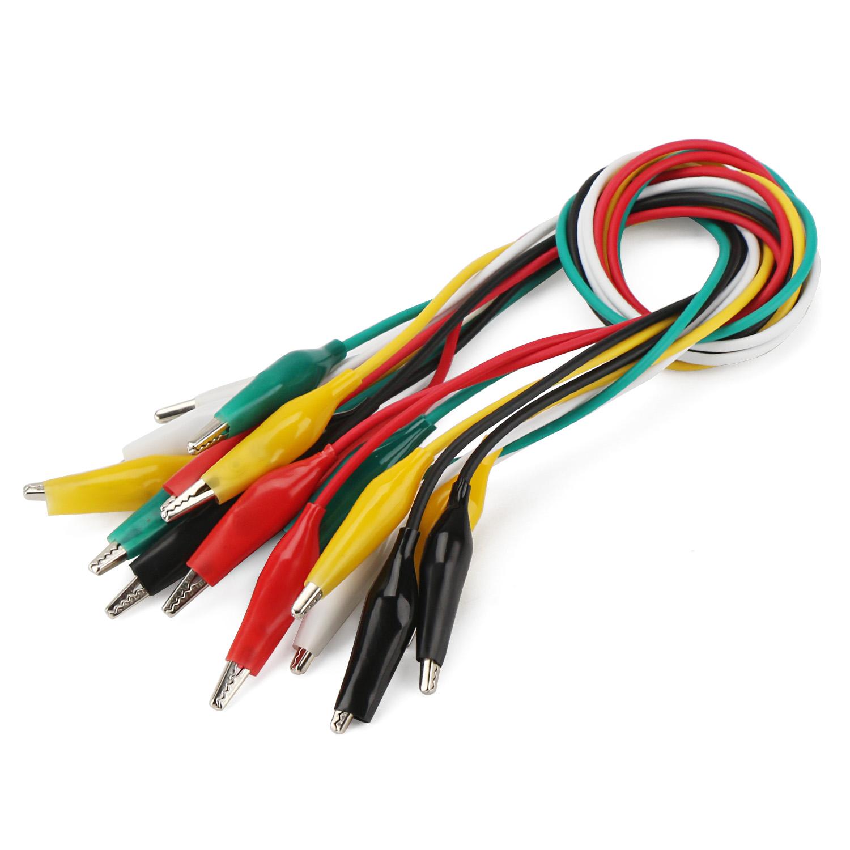 10 X Colorido Doble Extremo Alligator Clip Cable de Prueba Jumper Test Hl499-723