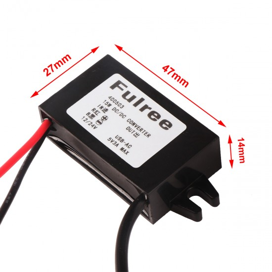 DC Buck Converter,  USB Output Module 12V To 5V 3A  Power Adapter 15W with Mounting Ear