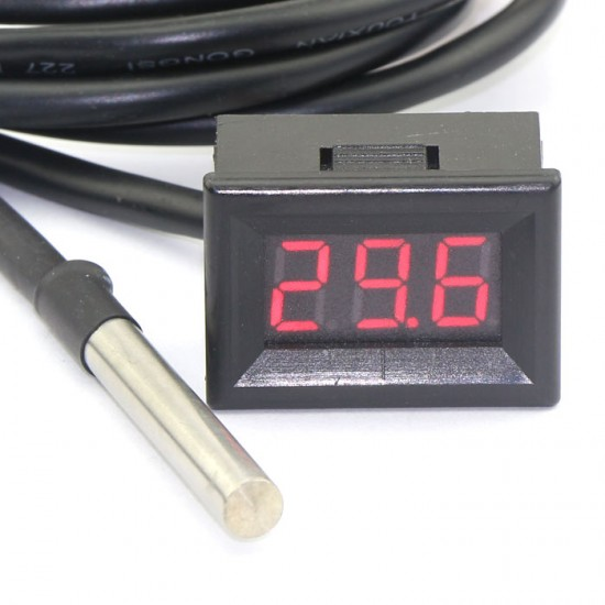 """0.56"""" Red LED Digital WaterThermometer 3m Cable -55-125°c Temperature Monitoring"""