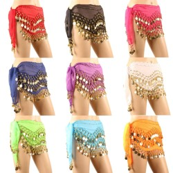 Belly Dance Skirt 10PCS/LOT Hip Scarves for Belly Dancing with 128-Gold Coins, Waist Costume Belt Chiffon Dangling Belly Dance Sequins Hip Scarfs