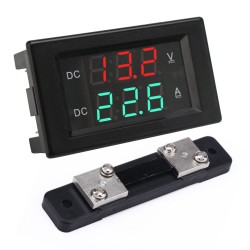 2in1 Digital Meter DC 4.5~100V/50A Led Dual Display Voltage/Current Meter DC 12V 24V Voltmeter Ammeter + 50A Shunt
