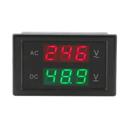 AC/DC Digital Voltmeter, Dual LED Display Voltage Monitor Meter AC 110V 80-150V Volt meter DC 0-99.9V Volt Tester Panel