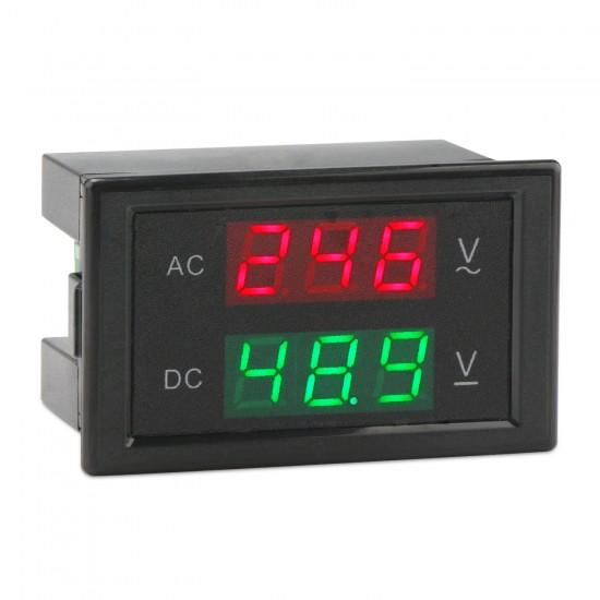 AC/DC Digital Voltmeter, Dual LED Display Voltage Monitor Meter AC 110V 80-150V Volt meter DC 0-99.9V Volt Tester Panel
