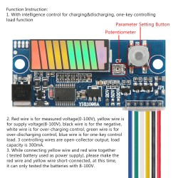 Intelligent Battery Charge Discharge Control Capacity Indicator, Digital Meter DC 8~100V Battery Capacity Tester Indicator Intelligent Automatic Charging/Discharging Controller Protection Module