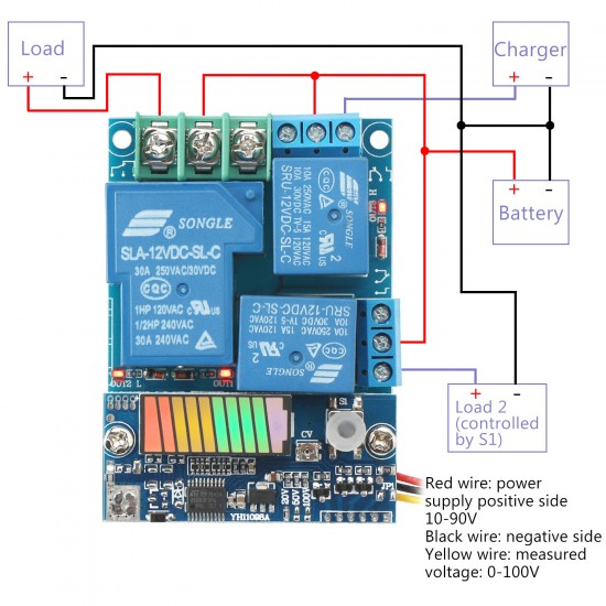 Battery Charge Discharge Protection Module, Intelligent controller DC 10~90V Charge Controller DC12V 24V 48V Storage Lithium Battery Charger Control Switch Protection Board