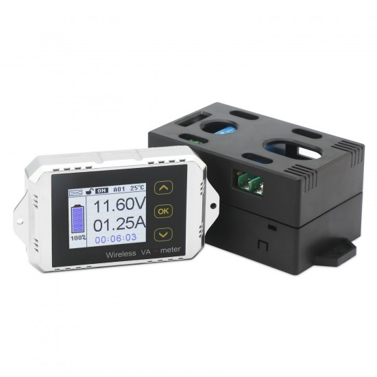 Battery Monitor Panel, DROK Digital Voltmeter Ammeter 0-100V 0-30A DC LCD Display Wireless Bi-directional Voltage Current Power Meter AH Time Watt Hour Capacity Tester Gauge
