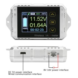 DC Voltmeter Ammeter Panel, Multimeter DC0~100V 200A Digital Meter Wireless Temperature Current Volt KWh Watt Meter Battery coulometer Capacity Power tester
