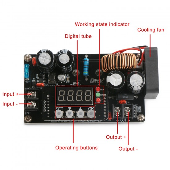 400W NC Voltage Regulator Power Supply Module DC 6~65V to 0~60V 8A Buck Adapter /Charger + Voltmeter/Ammeter/Capacity Meter/Time Meter