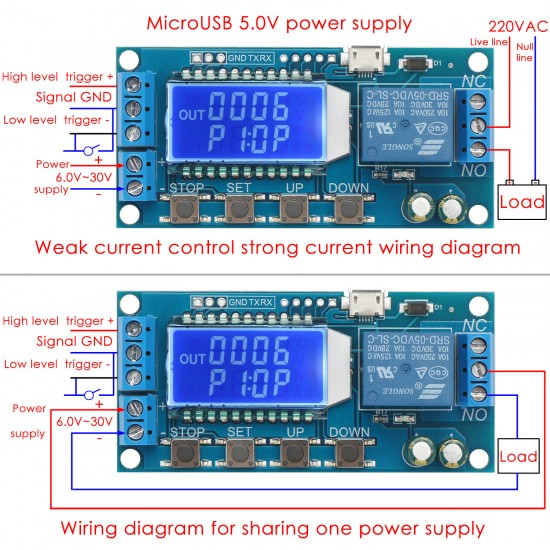 Time Delay Relay, Relay Switch DC6V~30V LCD Multifunction Digital Motor Controller Delay power cut/break/Trigger delay/Cycle timing circuit Relay Module