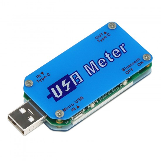 USB C Power Meter, LCD Display USB Meter DC 4-24V 5A UM25 Type C Voltage and Current Tester
