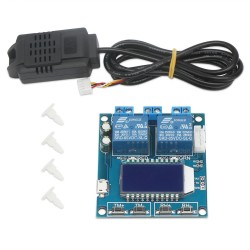 Humidity and Temperature Controller Digital Thermometer Hygrometer Control Module Dual Outputs -20℃~60℃ 00%~100% RH LCD Automatic Constant Temperature Humidity Regulator Board