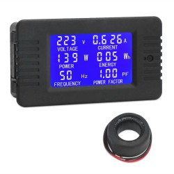 AC Digital Multimeter AC 80~260V 100AMeter Current Voltage Amperage Power Energy Frequency Factor LCD Digital Display Voltmeter Ammeter 220V 110V Monitor Detector with Current Transformer CT