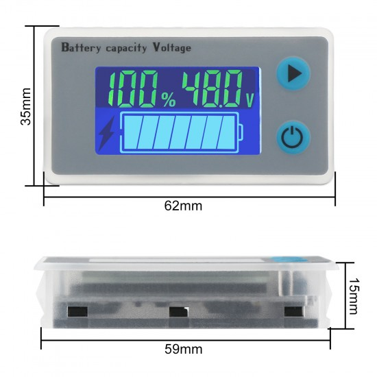 48V Lead-acid Tester Capacity Indicator Module Battery Level/Voltage Temperature/Monitor Battery/Capacity Meter/Voltmeter Thermometer