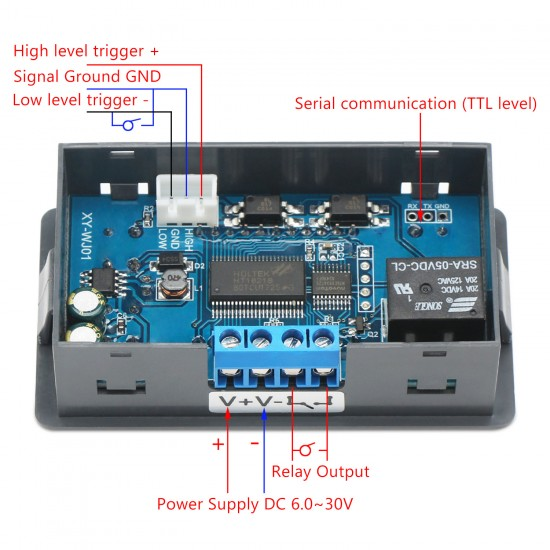 Digital Relay Module Meter DC 6~30V Delay Relay Control Module DC 12V 24V Relay Switch/Dual Display Cycle Timing Circuit Switch