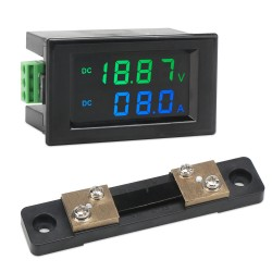 Digital Meter DC 0~199.9V/0~50A LCD Display Voltage Current Meter DC 12V 24V Voltmeter Ammeter with 50A Shunt