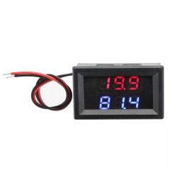 Digital Car Voltmeter Fahrenheit Temp Monitor Display DC 5V-80V 12V 24V 48V 60V 72V LED with 1 Meter Sensor Probe