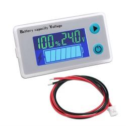 Battery Monitor Meter 24V Voltmeter Battery Level Percentage Voltage Temperature 10-100V Tester