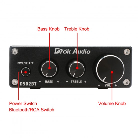 2.0 Channel Amplifier 50Wx2 Bluetooth DC 12-24V BT Class D Stereo Amplifier Control Knob and 24V Power Adapter