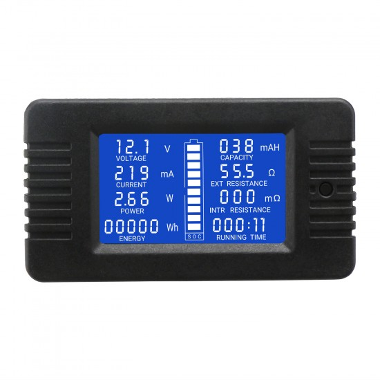 DC Multimeter Panel 0-200V 10A Battery LCD Vol Amp Power Energy Consumption Capacity Resistance Time Monitor Meter