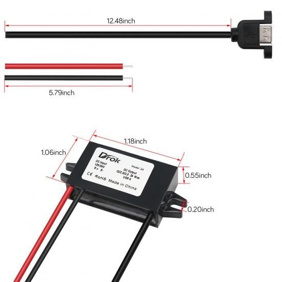 36W Car Buck Converter DC 12V 24V to DC 5V 3A USB Output Power Supply Module QC 3.0 Voltage Regulator
