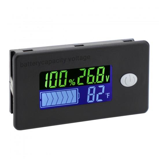 Battery Capacity Monitor DC10-100v Battery Meter 12v 24v 48v Battery Power Percentage Voltage Fahrenheit Temperature Indicator Gauge
