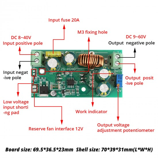 DC Boost Voltage Converter 200W 8-40V to 9-60V 12A Adjustable Voltage Regulator Step Up Board with Aluminum Shell