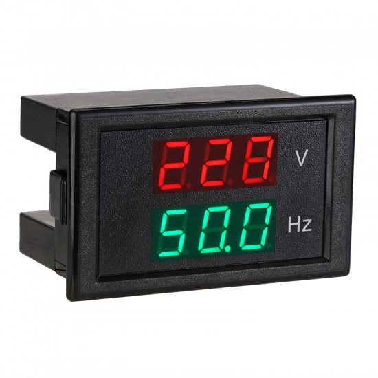 Digital Voltmeter Frequency Meter AC 80-300V Frequency Counter 45Hz-65Hz LED Display Volt Hz Monitor for Checking Generator's Output